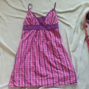 Pink  purple plaid sleep dress